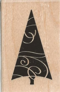 Curvy Tree Small Wood Mounted Rubber Stamp (C8137)