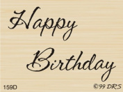 Small Script Happy Birthday Rubber Stamp By DRS Designs