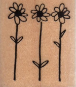 Daisy Trio Wood Mounted Rubber Stamp