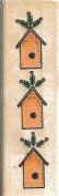 Fir and House Border Sandi Gore Evans Wood Mounted Rubber Stamp
