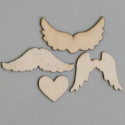 Maya Road WD2557 Wings to My Heart Wood Piece Scrapbooking Charm Embellishments