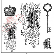 Something Tattered Clear Stamps, 10cm by 10cm , Monogram Initial K
