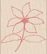 Watercolour Poinsettia Outline Wood Mounted Rubber Stamp