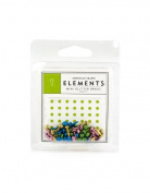 American Crafts Elements Mini Glitter Brads, Brights