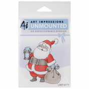 Art Impressions Christmas Cling Rubber Stamp 17cm x 10cm -Christmas Santa