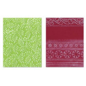 Sizzix Textured Impressions Embossing Folders By Basic Grey-Figgy Pudding Branches/Swirls & Ribbons