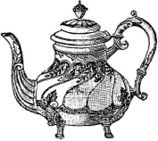Teapot rubber stamp WM