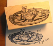 Vintage Tea set rubber stamp P35