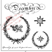Something Tattered December Decembre French Month Clear Stamps, 10cm by 10cm