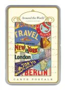 Cavallini Around the World Carte Postale, 18 Postcards per Tin