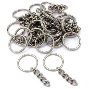 25 Key Chain Craft Wallet Nickel Plated Findings 28mm New