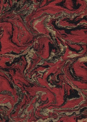 Nepalese Marbled Lokta Paper- Gold & Black on Red 50cm x 80cm Sheet