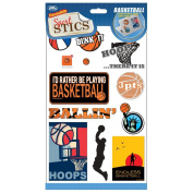 Basketball SportSTICS - Reusable Stickers for Laptops Etc.