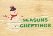 """Seasons Greetings"" Holiday Snowman Rubber Stamp"