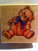 Teddy Bear with Bow Rubber Stamp