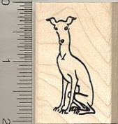 Whippet Dog Rubber Stamp - Wood Mounted