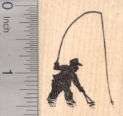 Fly Fishing Rubber Stamp, Sport Fishing Silhouette