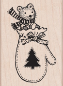 Mitten Mouse Wood Mounted Stamp