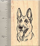 German Shepherd Portrait Rubber Stamp - Wood Mounted