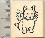 Terrier Dog Angel Rubber Stamp - Wood Mounted