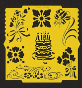 Cake & Flowers Pergamano Stencil