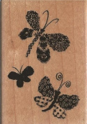 Butterfly Trio Montage Wood Mounted Rubber Stamp