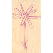 Button Flower Outline Wood Mounted Rubber Stamp