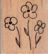 Outline Flower Trio Wood Mounted Rubber Stamp