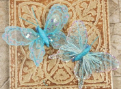 Prima 537081 Sheer Fabric Butterflies with Metal Clip, Light Blue