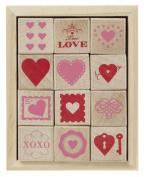 Martha Stewart Crafts Wood Stamp Set Valentines Day Hearts