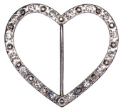 Dove of the East 1-Piece Crystal Heart Ribbon Slider for Scrapbooking