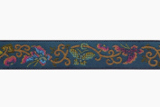 Dove of the East Shanghai Vintage Empress Butterfly Blue Brocade Ribbon for Scrapbooking, 1-Yard