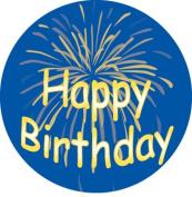 Ace Label 12189C 'Happy Birthday Fireworks' Teacher School Stickers, 6.4cm , Blue/Yellow, Roll of 100