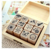 12 Kinds Korea DIY Woodiness Rubber Stamps -Natural