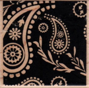 Solid Square Paisley Background Wood Mounted Rubber Stamp