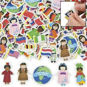 500 Kids Around the World Adhesive Foam Shapes Multicultural Stickers