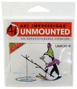 Art Impressions Fishing Penguin Rubber Stamp