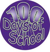 Ace Label 14189C '100 Days of School' Teacher Stickers, 6.4cm , Multicolor, Roll of 100