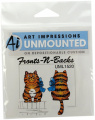 Art Impressions Tabby Cat Front and Back Rubber Stamp