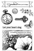 Hero Arts - BasicGrey - Serenade Collection - Poly Clear - Clear Acrylic Stamps - Pocket Watch