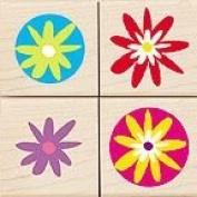 Flower Pops Wood Mounted Rubber Stamp Set
