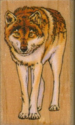 Wolf Rubber Stamp on Wooden Block