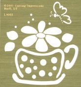 Lasting Impressions Brass Stencil - Cup with Flower