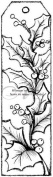 Magenta Self Cling Rubber Stamp Holly Tag 14cm x 3.8cm