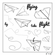 Maya Road Paper Aeroplanes Stamp Sheet, 10cm by 10cm , Clear