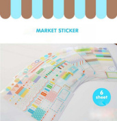 Diary Sticker Set Label Sticky Note - 6 Kawaii Craft PVC sheets for Scrapbooking