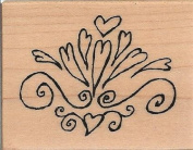 Funky Heart Flourish Wood Mounted Rubber Stamp