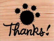 Paw Print Thanks Wood Mounted Rubber Stamp