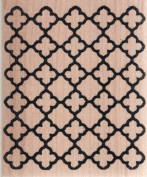 Outline Tile Pattern Wood Mounted Rubber Stamp