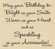 Sparkle Accessories Birthday Greeting Rubber Stamp By DRS Designs